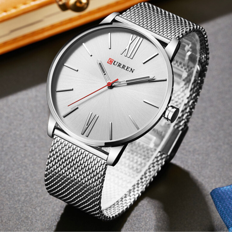 CURREN Luxury Silver Stainless Steel Sport Clock Men Wrist watch