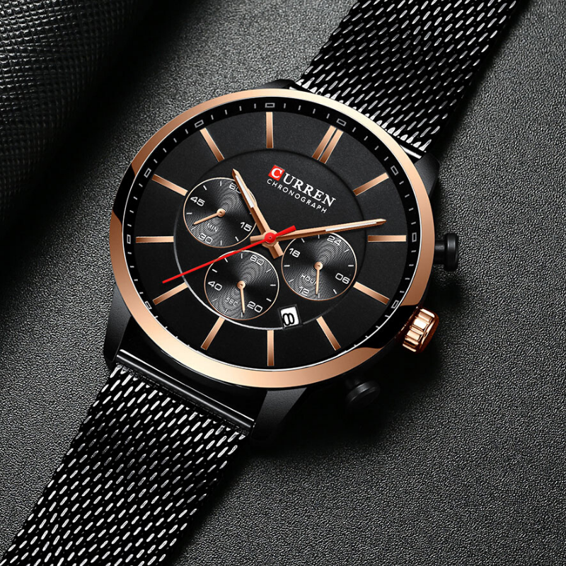 CURREN Chronograph Quartz Men Waterproof Wrist Watch – Black Copper