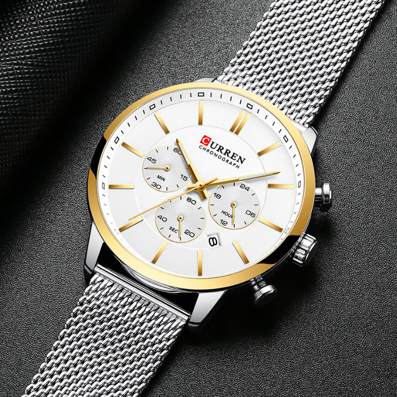 CURREN Chronograph Quartz Men Waterproof Wrist Watch Gold Silver