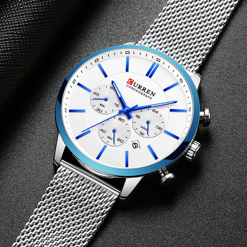 CURREN Chronograph Quartz Men Waterproof Wrist Watch SILVER NAVY BLUE