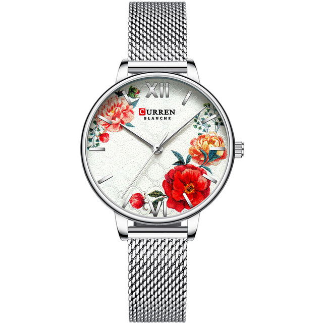 Watch CURREN Silver Watch Women Charming Stainless Steel Bracelet Quartz Watch Ladies Classy Wristwatch Female Casual Clock