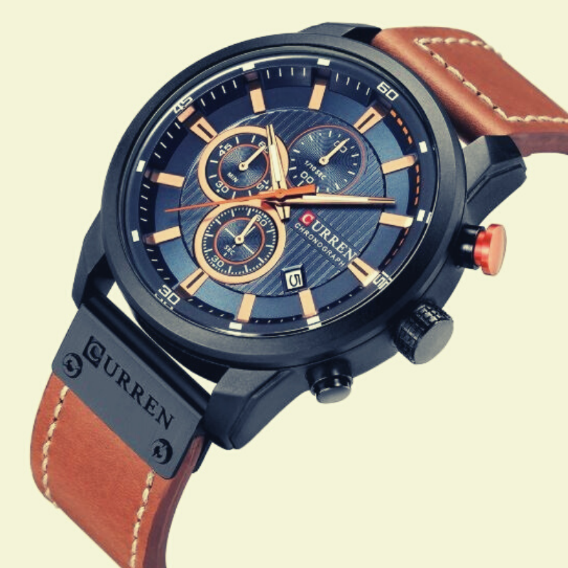 Curren Dark Blue Dial Brown Leather Chronograph – 1 Year Warranty