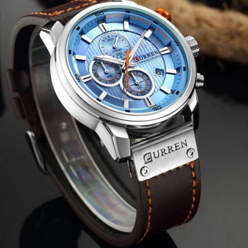 Curren Blue And Brown Sun Ray Dial Chronograph-Men Watch!