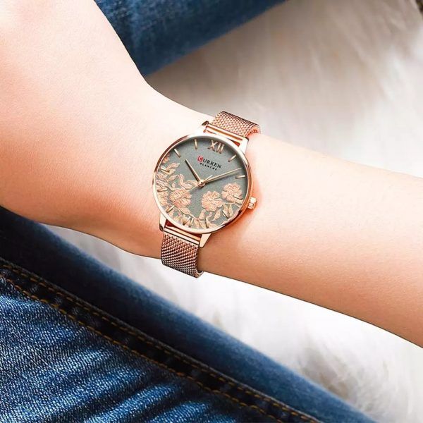 CURREN Stainless Steel Wristwatch for Women Rose Clock – COPPER