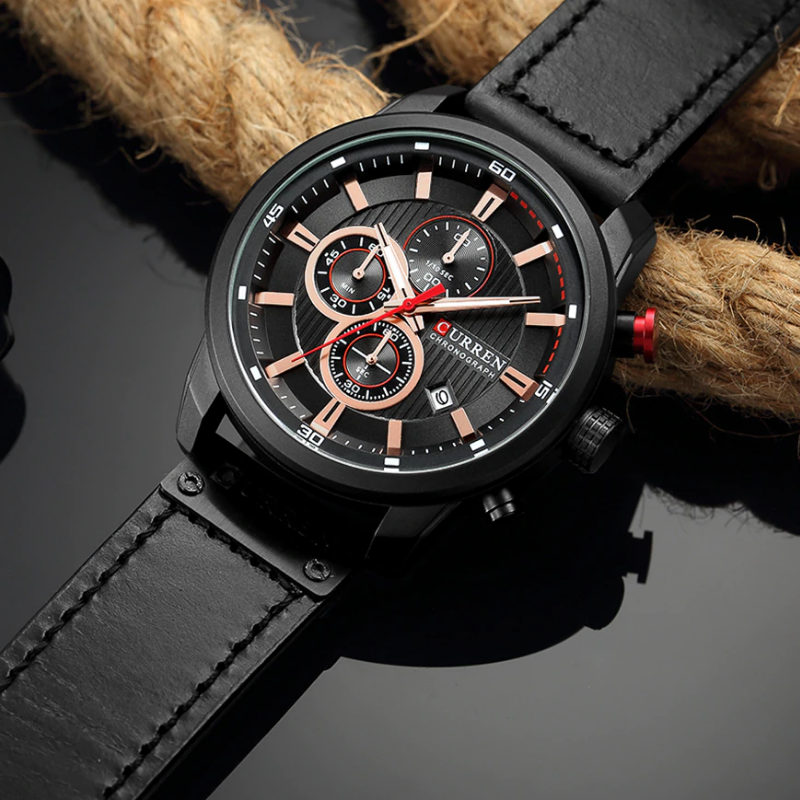 Curren All Black Leather – Chronograph! – 1 Year Warranty
