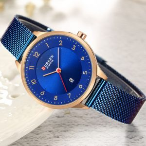 2019 Watch CURREN Blue Watches Women Charming Stainless Steel Bracelet Quartz Watch Ladies Classy Wristwatch Female Casual Clock
