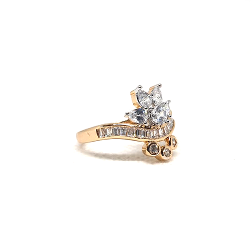 2 Tone Crystal Goldplated Ring 3