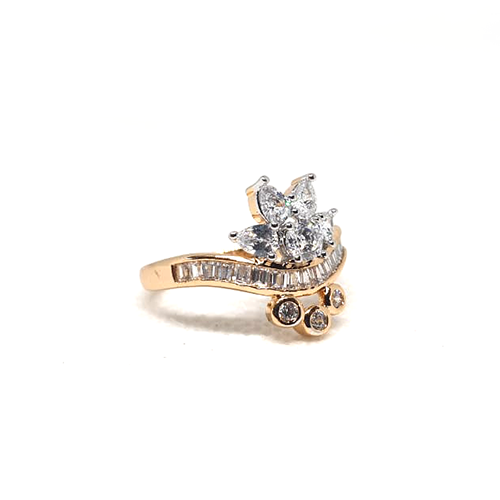 2 Tone Crystal Goldplated Ring