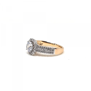 2 Tone Crystal Square Style Fashion Goldplated Ring 2