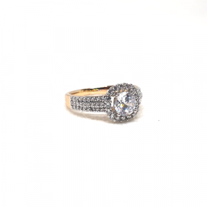 2 Tone Crystal Square Style Fashion Goldplated Ring 3