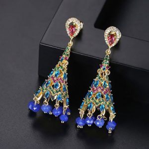 Beautiful Blue Crystals with Ruby Green Color Earrings 2
