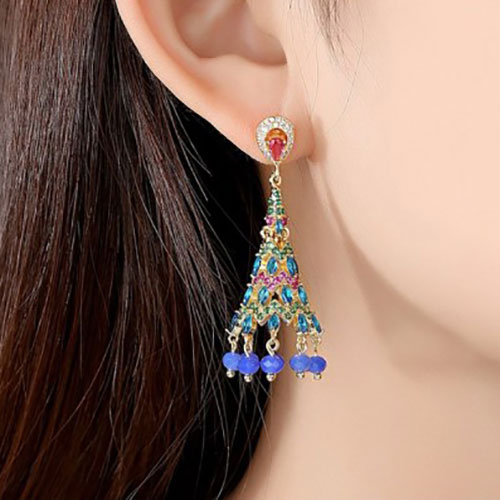 Beautiful Blue Crystals with Ruby Green Color Earrings 3