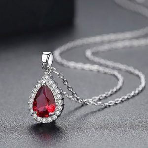 Beautiful Diamond Shape Pendant With Chain Ruby