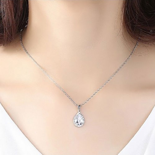 Beautiful Diamond Shape Pendant With Chain white 2