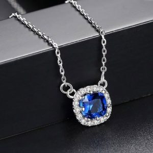 Beautiful Square Shape Pendant With Chain Blue