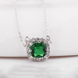 Beautiful Square Shape Pendant With Chain Green