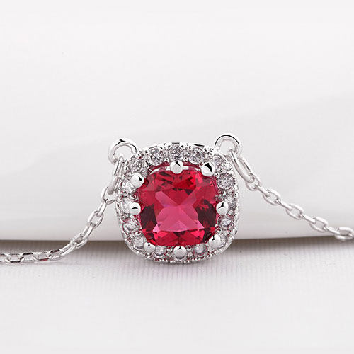 Beautiful Square Shape Pendant With Chain Ruby
