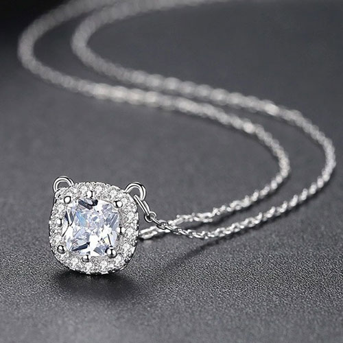 Beautiful Square Shape Pendant With Chain White