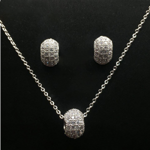 Classic Pearl Silver Plated Crystal Pendant Set (1)