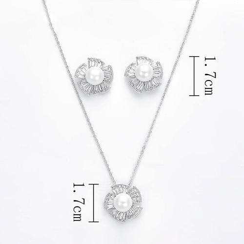 Classic Pearl Silver Plated Crystal Pendant Set 2