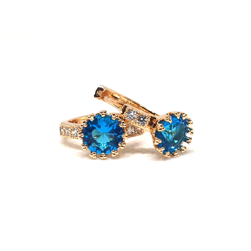 Creative Goldplated Blue Crystal Small Earrings