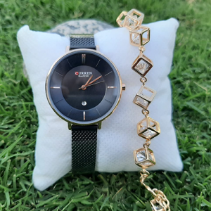 Creative Women Black Watch with Goldplated Cubic Bracelet 3