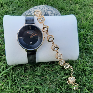 Creative Women Black Watch with Goldplated Cubic Bracelet 4