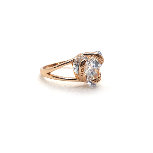 Cubic white Crystals Goldplated Ring 3