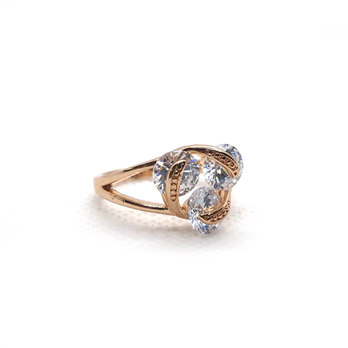 Cubic white Crystals Goldplated Ring
