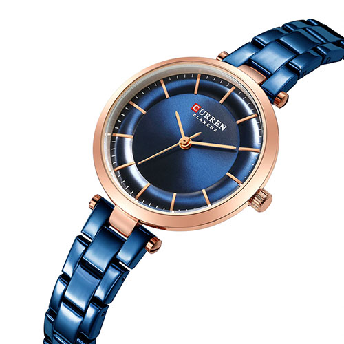 Curren Blue with Rose Gold Dial Watch For Women 2