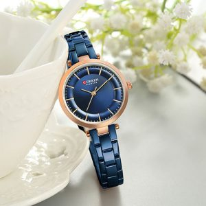 Curren Blue with Rose Gold Dial Watch For Women 3