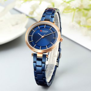 Curren Blue with Rose Gold Dial Watch For Women