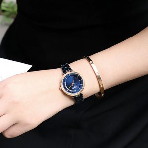 Curren Blue with Rose Gold Dial Watch For Women 4