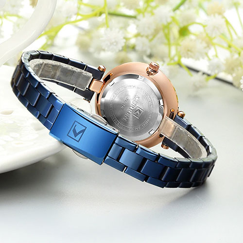 Curren Blue with Rose Gold Dial Watch For Women 5