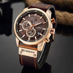 Curren dark brown dial brown leather chronograph 1 year warranty