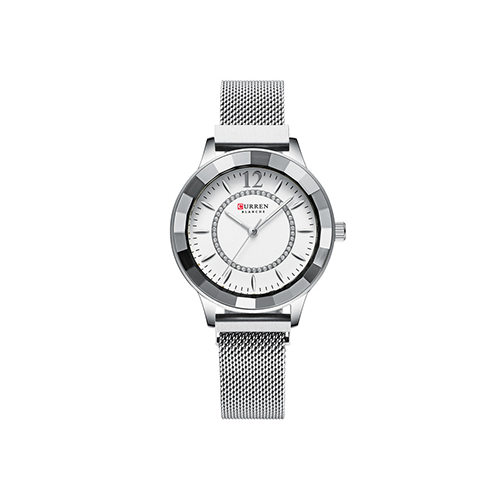 Curren Silver Strap Chain Crystal White Dial Women Classy Watch