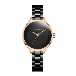 Curren Top Brand Fashion Ladies Watch Black With Rose Gold Dial With Black Chain 2