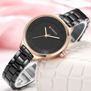 Curren Top Brand Fashion Ladies Watch Black With Rose Gold Dial With Black Chain(2450)