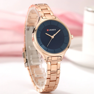 Curren Top Brand Fashion Ladies Watch Blue Dial with Rose Gold 2