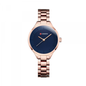 Curren Top Brand Fashion Ladies Watch Blue Dial with Rose Gold 3