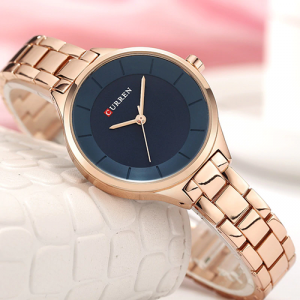 Curren Top Brand Fashion Ladies Watch Blue Dial with Rose Gold