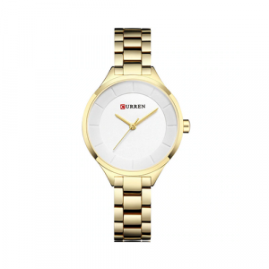 Curren Top Brand Fashion Ladies Watch White Dial with Golden Chain