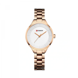 Curren Top Brand Fashion Ladies Watch White Dial with Rose Gold Chain