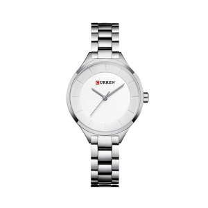 Curren Top Brand Fashion Ladies Watch White Dial with Silver Chain