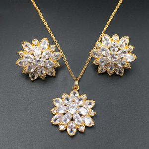 Elegant Floral Golden Design Pendant Set For Women