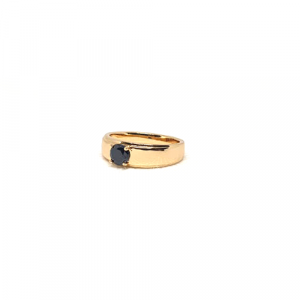 Elegant Goldplated Black Single Stone Ring For Men And Women