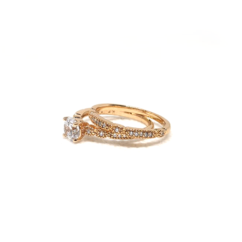 Elegant Goldplated Pair Stones Ring 3