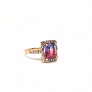 Elegant Multi Crystal Stone GoldPlated Ring