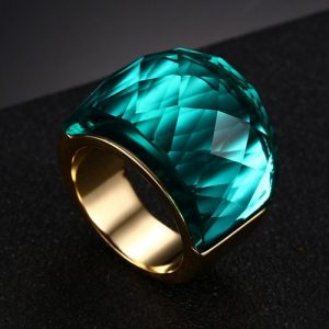 Emerald CRYSTAL STONE RING FOR WOMEN STAINLESS STEEL