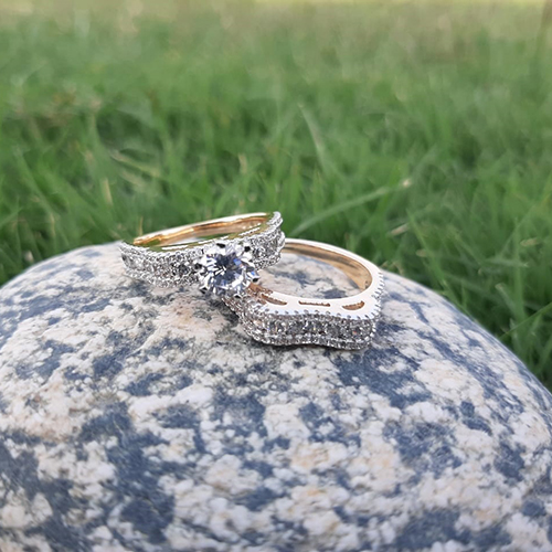 Gold Plated Crystal Pair Rings 2